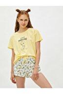 Koton %100 Pamuk Warner Bros Lisanslı Tweety Temalı Pijama Takımı - Sarı