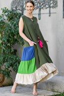 Chiccy Kadın Yeşil Yakası Bağlamalı Püsküllü Bloklu Fırfırlı Salaş Dokuma Elbise M10160000EL94910