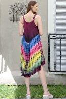 Chiccy Kadın Bordo  Hint İşi Çiçek Desenli Batik Elbise M10160000EL94983