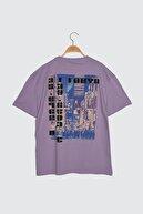 TRENDYOL MAN Lila Erkek Geniş Kesim Baskılı Kısa Kollu T-Shirt TMNSS21TS3437