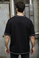Sateen Men Erkek Siyah Dikişli Iki Iplik T-Shirt
