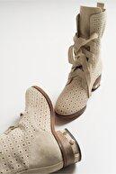 luvishoes Kadın Bej Derı Suet Zımba Topuklu Bot 206