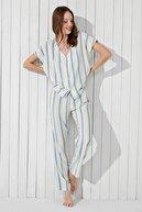 Penti Blue Stripe SS Gömlek Pijama Takımı