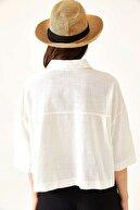 oshebu Kadın Salaş Kesim Crop Keten Gömlek