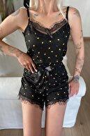 Pijamaevi Kadın Mini Limon Pegasus Dantel Detaylı Ip Askı Şortlu Örme Pijama Takımı