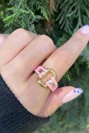 Takıştır Altın Renk Pembe Zincir Figürlü Ayarlanabilir Bijuteri Yüzük