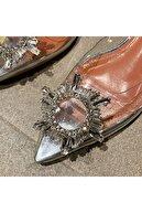 TrendyAnka Kadın Princess Gümüş Nude Taba Şeffaf Topuklu Kristal Taşlı Günlük Babet Ayakkabı