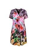DCZ FASHION Kadın Pileli V Yaka Baskılı Elbise