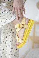 Straswans Kadın Sarı Cırt Detay Günlük Sandalet
