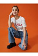 Koton Kadın Ekru Sloganli Baskili Bisiklet Yaka Tisört