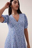 Gusto Çıtır Çiçek Desenli V Yaka Elbise - Mavi