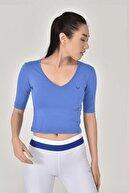 bilcee Kadın Mavi Yoga T-shırt Gs-8105