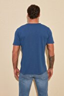 TRENDYOL MAN Indigo Basic Flamlı Süprem V Yaka Regular Fit T-Shirt TMNSS20TS0035