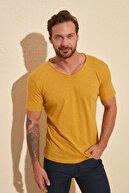 TRENDYOL MAN Hardal Basic Flamlı Süprem Regular Fit T-Shirt TMNSS20TS0035