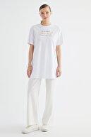Trendyol Modest Beyaz Varak Baskılı Kısa Kollu Örme Tesettür T-Shirt TCTSS21TN0425