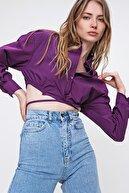 Trend Alaçatı Stili Kadın Mor Bağcıklı Crop Poplin Gömlek ALC-X6039