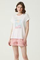 Network Kadın Ekru Payet İşlemeli Basic T-shirt 1079436