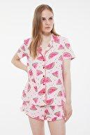 TRENDYOLMİLLA Pembe Karpuz Desenli Örme Pijama Takımı THMSS21PT0670