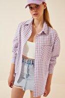 Happiness İst. Kadın Açık Lila Kareli Hafif Oversize Gömlek DD00898