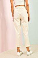 Bianco Lucci Kadın Bej Bağcıklı Beli Lastikli Gabardin Pantolon
