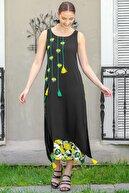 Chiccy Kadın Siyah Limon Nakışlı İki Katlı Limon Desenli Dokuma Maxi Elbise M10160000EL95040