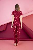 ELİTOL Kadın Desenli Düğmeli Pijama Takım