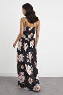 Cool & Sexy Kadın Siyah Kruvaze Maxi Elbise BK1158
