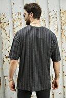 Sateen Men Erkek Siyah Parçali Jakarlı T-Shirt