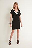 Join Us V Yaka Kısa Kol Triko Elbise