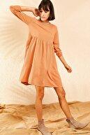 Bianco Lucci Kadın Kiremit Kolu Lastikli Basic Kloş Elbise 10111032