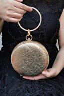 NAZART Kadın Kristal Altın Abiye Clutch Çanta