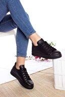 epaavm Kadın Siyah Düz Cilt Bağcıklı Spor Ayakkabı