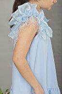 hoQuspoQus Kız Çocuk Omuz Detaylı Tüylü Elbise (bebe Mavisi)