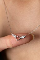 Elika Silver Kadın Gümüş Kalp Detaylı Melek Kanadı Model 925 Ayar