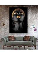 Hobi Butik Kanvas Tablo Afrikalı Kadın Tablosu 50x100 Cm Yaylera Dekoratif Moda Duvar Dekorasyon Tablo
