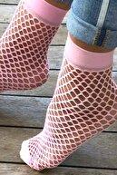 Mite Love Kadın Pembe File Soket Çorap