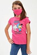 Defacto Kız Çocuk Kral Şakir Lisanslı Tişört Ve Maske Takım