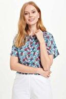 Defacto Kolları Volan Detaylı Çiçek Desenli Bluz