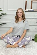 modalove Kadın Desenli  Pijama Tek Alt 3 Lü Set