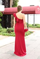 lovebox Esnek Krep Kumaş Tek Omuz Detaylı Bordo Uzun Abiye Elbise Maxi Prom Dress