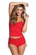 Mite Love Kadın Kırmızı İp Askılı Pijama Takımı