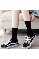 çorapmanya 6' Lı Paket Siyah+beyaz Çizgili - Çizgisiz Pamuklu Kolej Tenis Çorap