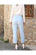 ZARAZA Kadın Mavi Yüksek Bel Dikiş Detaylı Pantolon