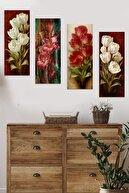 Evimona 4 Parçalı Çiçekli Mdf Tablo