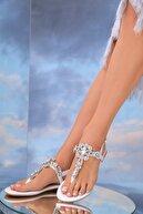Oblavion Kadın Hakiki Deri Beyaz Günlük Taşlı Sandalet