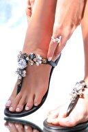 Oblavion Kadın Siyah Lavion Hakiki Deri Çok Renkli Günlük Taşlı Sandalet