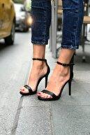 trendytopuk Kadın Siyah Yüksek Topuklu Tek Bant Ayakkabı
