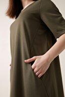 Gusto Yarım Kollu Rahat Kesim Penye Elbise - Haki