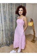 Stamina Kadın Pembe Askılı Prenses Elbise