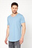 Tarz Cool Erkek Bebe Mavisi Pis Yaka Salaş T-shirt